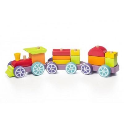 Деревянная игрушка Cubika Поезд Радужный экспресс LP-3 (12923)