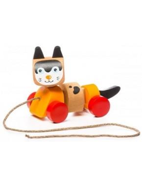 Деревянная игрушка Cubika Котик-каталка (13616)