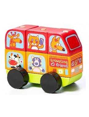 Деревянная игрушка Cubika Автобус Весёлые зверята LM-10 (13197)