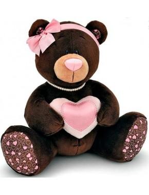 Мягкая игрушка Orange Медведь девочка Milk с сердцем 20см (M003/20)