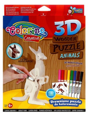 Пазл 3D деревянный Colorino Кенгуру   фломастеры 8цв