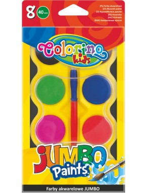 Краски акварельные Colorino Jumbo 8 цветов в пластиковой упаковке