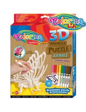 Пазл 3D деревянный Colorino Лебедь  фломастеры 8цв