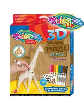 Пазл 3D деревянный Colorino Жираф  фломастеры 8цв