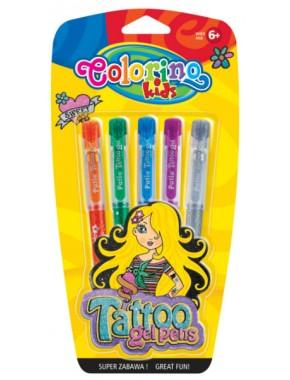Гелевые ручки-тату с трафаретами в блистере, 5 цветов