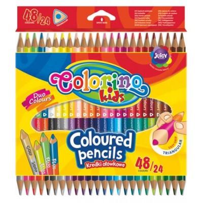 Карандаши Цветные 2-х сторон. 24 шт. 48 цв. треугольные