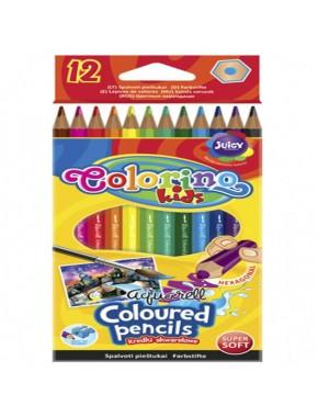 Карандаши акварельные шестигранные   кисточка для рисования, 12 цветов