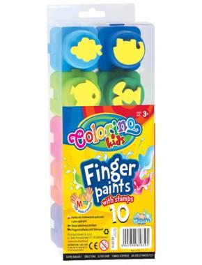 Пальчиковые краски - пазлы, со штампом, 10 цветов