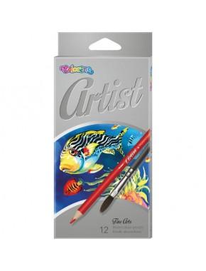 Карандаши акварельные premium   кисточка для рисования, серия Artist, 12 цветов
