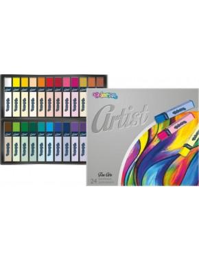 Пастель сухая, квадрагная, premium, серия Artist, в пластиковом контейнере, 24 цвета