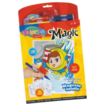 Набор раскраски (12шт.)   6 фломастеров   магический фонарик