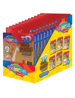 Набор для творчества 3D деревянный пазл, 12 шт. (12 вариантов)