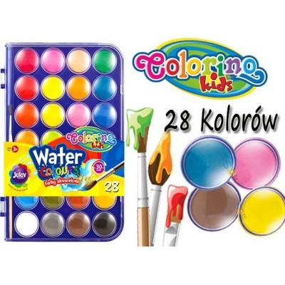 Краски акварельные с кисточкой, большие таблетки, 28 цветов