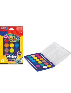 Краски акварельные с 2 кисточками, большие таблетки, 18 цветов