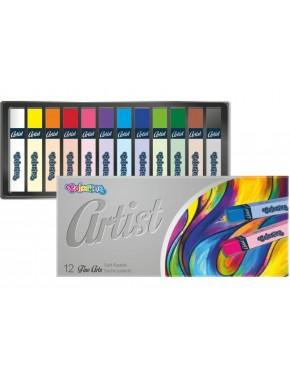 Пастель сухая, квадрагная, premium, серия Artist, в пластиковом контейнере, 12 цветов
