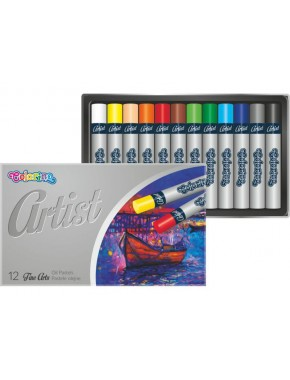Пастель масляная, круглая, premium, серия Artist, в пластиковом контейнере, 12 цветов