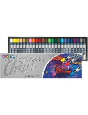 Пастель масляная, круглая, premium, серия Artist, в пластиковом контейнере, 24 цвета