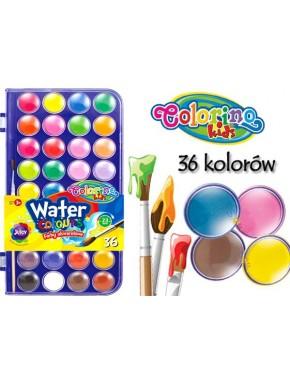 Краски акварельные с кисточкой, маленькие таблетки, 36 цветов