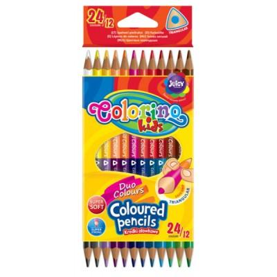 """Карандаши цветные двухсторонние, трехгранные, """"Duo Colors"""" 12 карандашей, 24 цвета"""