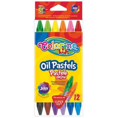 Пастель маслянная, трехранная, в пластиковом контейнере 12 цветов