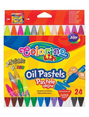 Пастель маслянная, трехгранная, в пластиковом контейнере, 24 цвета