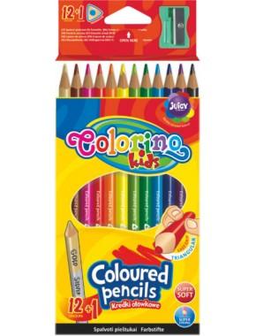 Карандаши цветные   точилка, в пластиковом контейнере, 12 цветов 1 золото,серебро (2 в 1)