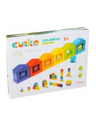 Деревянный конструктор Cubika Цветные домики (14866)