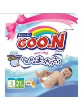 Подгузники GOO.N для детей 4-8 кг (размер S, на липучках, унисекс, 21 шт) 753752