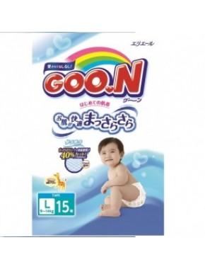 Подгузники GOO.N для детей 9-14 кг (размер L, на липучках, унисекс, 15 шт) 753754