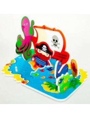 Игровой набор для ванной - 3D сцена ОСТРОВ СОКРОВИЩ (17 деталей)