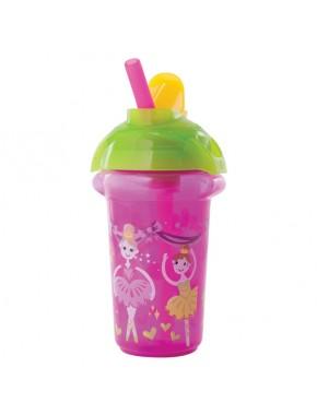 """Бутылка непроливна """"Flip Straw"""", 266мл. (Розовая)"""
