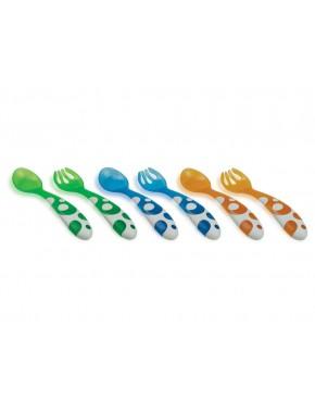 Набор 3 ложки + 3 вилки (разноцветные)