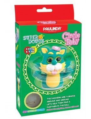Масса для лепки Paulinda Super Dough Circle Baby Кот заводной механизм, зеленый (PL-081177-3)