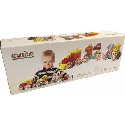 Деревянная игрушка Cubika Поезд с машинками (13999)