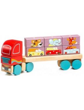 Деревянная игрушка Cubika Тягач с Кубиками LM-14 (13432)