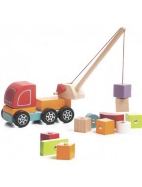Деревянная игрушка Cubika Машинка Авто-кран (13982)