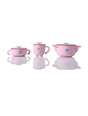 Babyhood - набор детской посуды 5 в 1, розовый (BH-404P)