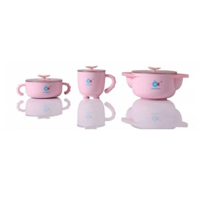 Набор детской посуды 5 в 1 Babyhood, розовый (BH-404P)
