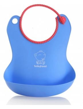 Babyhood - силиконовый нагрудник для кормления, голубой (BH-401B)